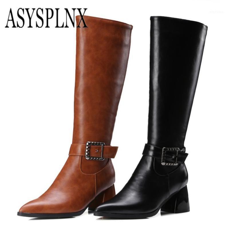Asysplynx 2018 nouveau style hiver mode montagne-hauts bottes pour femmes pointues orteil métal boucle zipper élégant chaussures de femmes1
