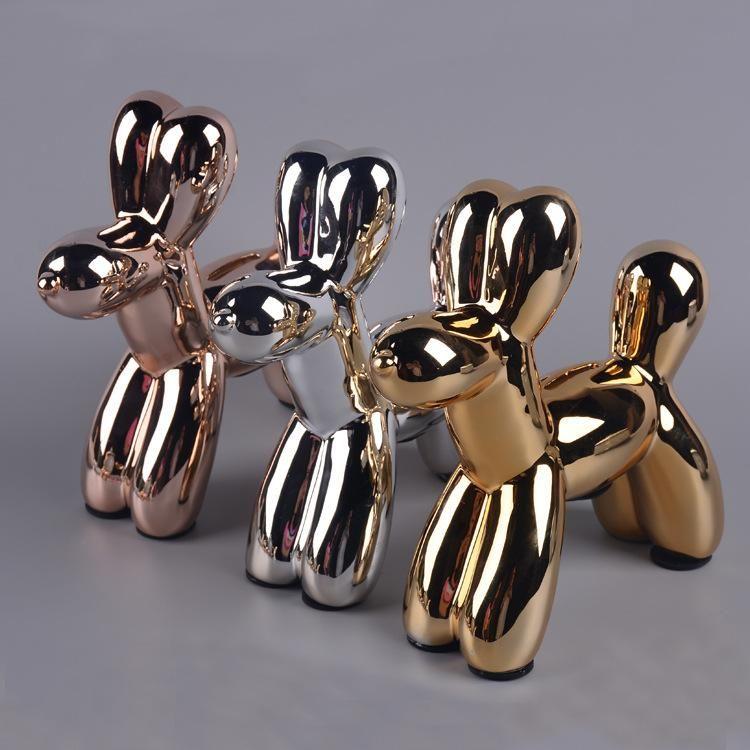Cão de craft de cerâmica Cão de balão animal cofrinho colocar uma decoração de casa nórdica colocar em um balão de prata de ouro ornamento caseiro moderno