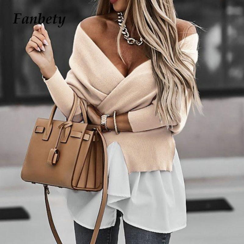 Eleganter V-Ausschnitt Backless Bluse Hemden Frauen Casual Ripped Gestrickte Patchwork Pullover Tops Dame Mode Lantern Sleeve Wrap Blusa