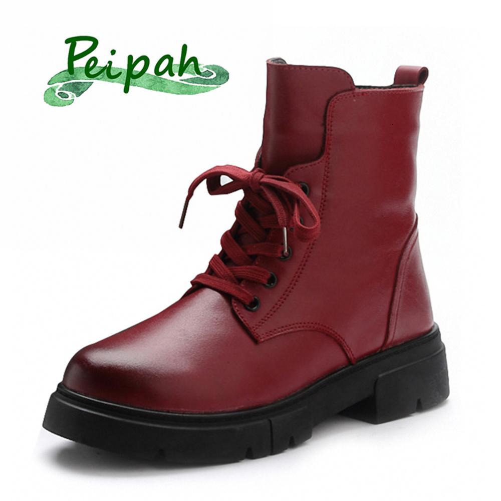 بيباحة 2020 الشتاء المطاط جلد طبيعي للنساء الدانتيل يصل أحذية الكاحل السيدات منصة أسافين الأحذية مع الفراء