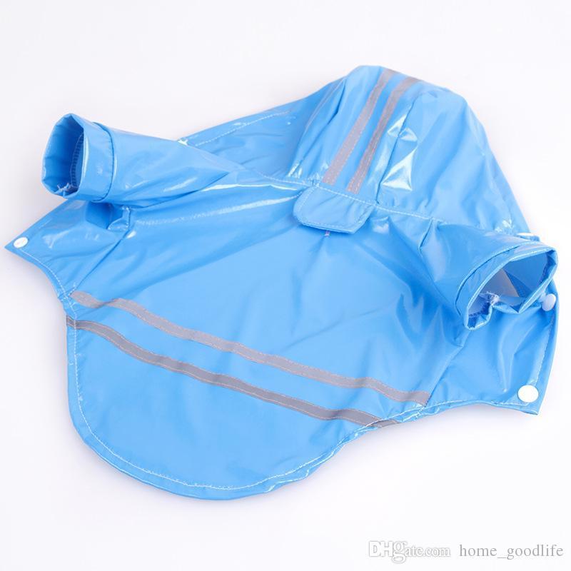 Pet Dog Raincoat PU Reflektierende wasserdichte Kleidung mit Kapuze Jumpsuit Regenmantel für kleine und mittlere Hund Teddy Chihuahua
