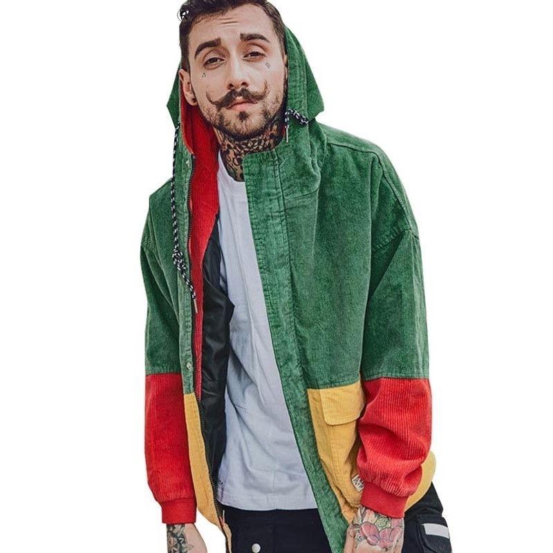 Sonbahar Erkek Kadife Renk Blok Patchwork Kapşonlu Ceketler Kadınlar Hip Hop Hoodies Ceket Çift Beyzbol Ceket Streetwear Giyim T200502
