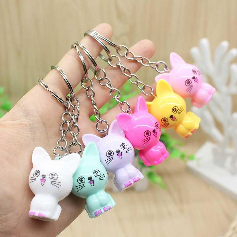 5pcs Simulation 3d Colorful Cut Cat Chains Creative Cartoon Keyrings Holder Car Bag Accessories Key Ring Gift, Wholesale