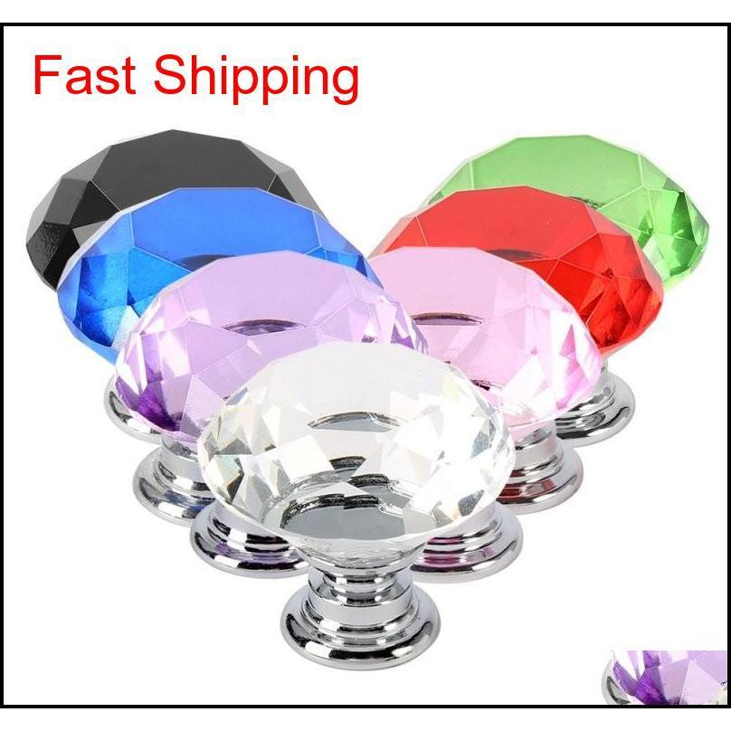 Professional Colorful 30Mm Diamond Shape Design Crystal Glass Door Knobs Cupboard Drawer Cabinet Wardrobe Pull Handle Knobs 9Ryqe