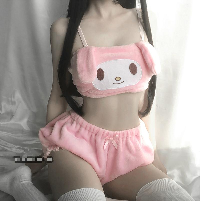 Sexy Lingerie Anime Cosplay Kostümleri Pembe Beyaz Melodi Tüp Üst Külot Kwaii DDLG Uzun Kulak Doggy Sutyen Ve Bloomers