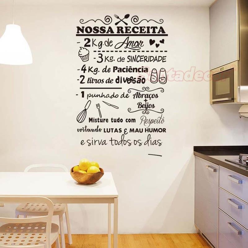 Pegatinas de pared Nossa Receito Vinilo Pared Art Decal Sala de estar Decoración del hogar Poster Portugués Decoración de la casa 36 cm x 57 cm 201130