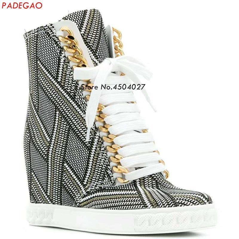 Boots EST Весенние Женщины Золотая цепочка Клинья Платформа Скрытые Каблуки Обувь на шнурке Кружева Лодыжка для Женщины