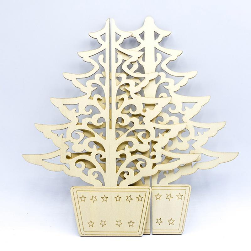 Рождественские украшения творческие деревянные подвески украшения DIY деревянные ремесла Xmas Tree Party Kids Gift1