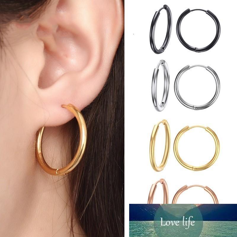 Grundlegende Edelstahl-Reifen-Ohrringe für Frauen Mann runder Kreis-Lohr-Ohrring-Aretes 25mm / 20mm / 11mm Unisex-Ohrschmuck