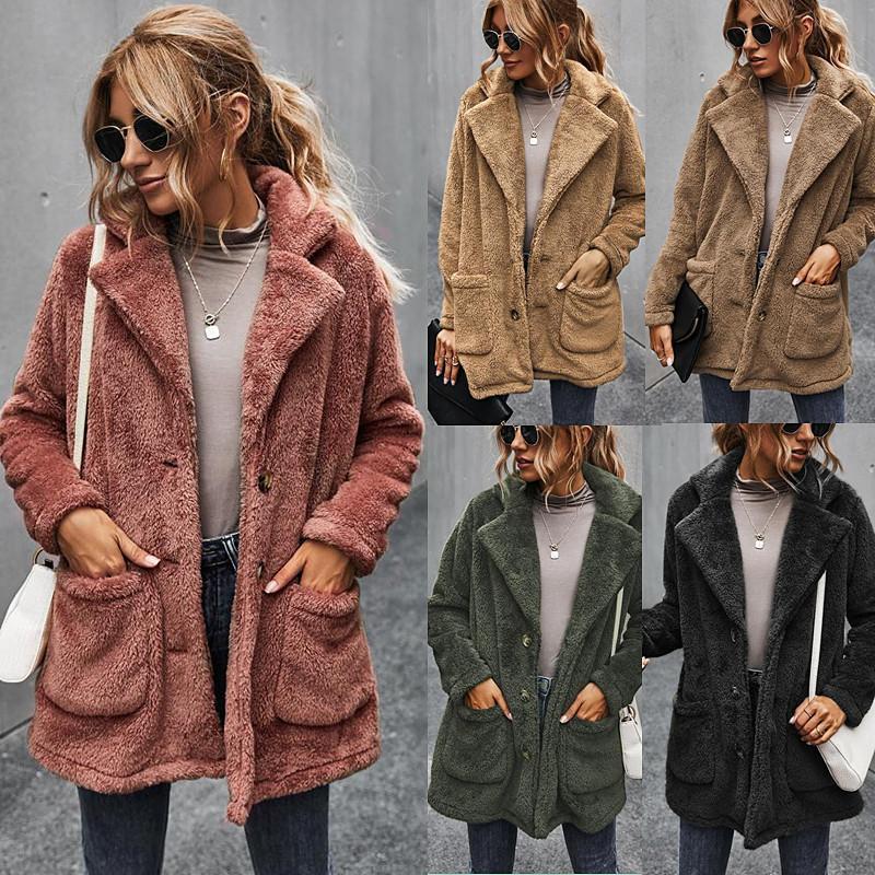 2020 jaqueta de inverno europeu e americano espessado além de aquecimento de veludo cor sólida lapela lapela pelúcia casaco meio