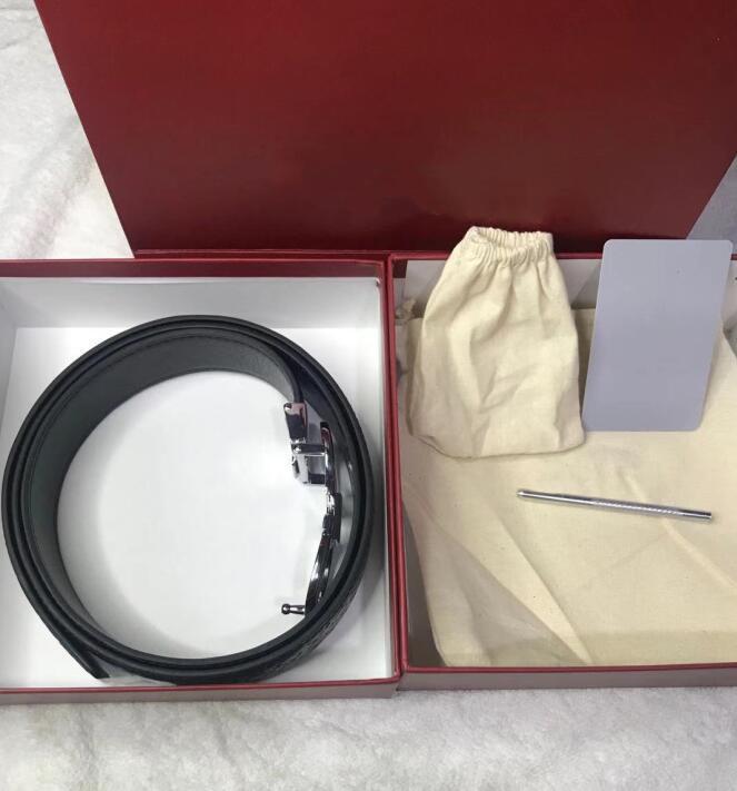 Elevata moda Top Grado Cintura in pelle personalizzata regolabile Casual Pinhole Fibbia Business Uomo Design Genuine Cinture con scatola