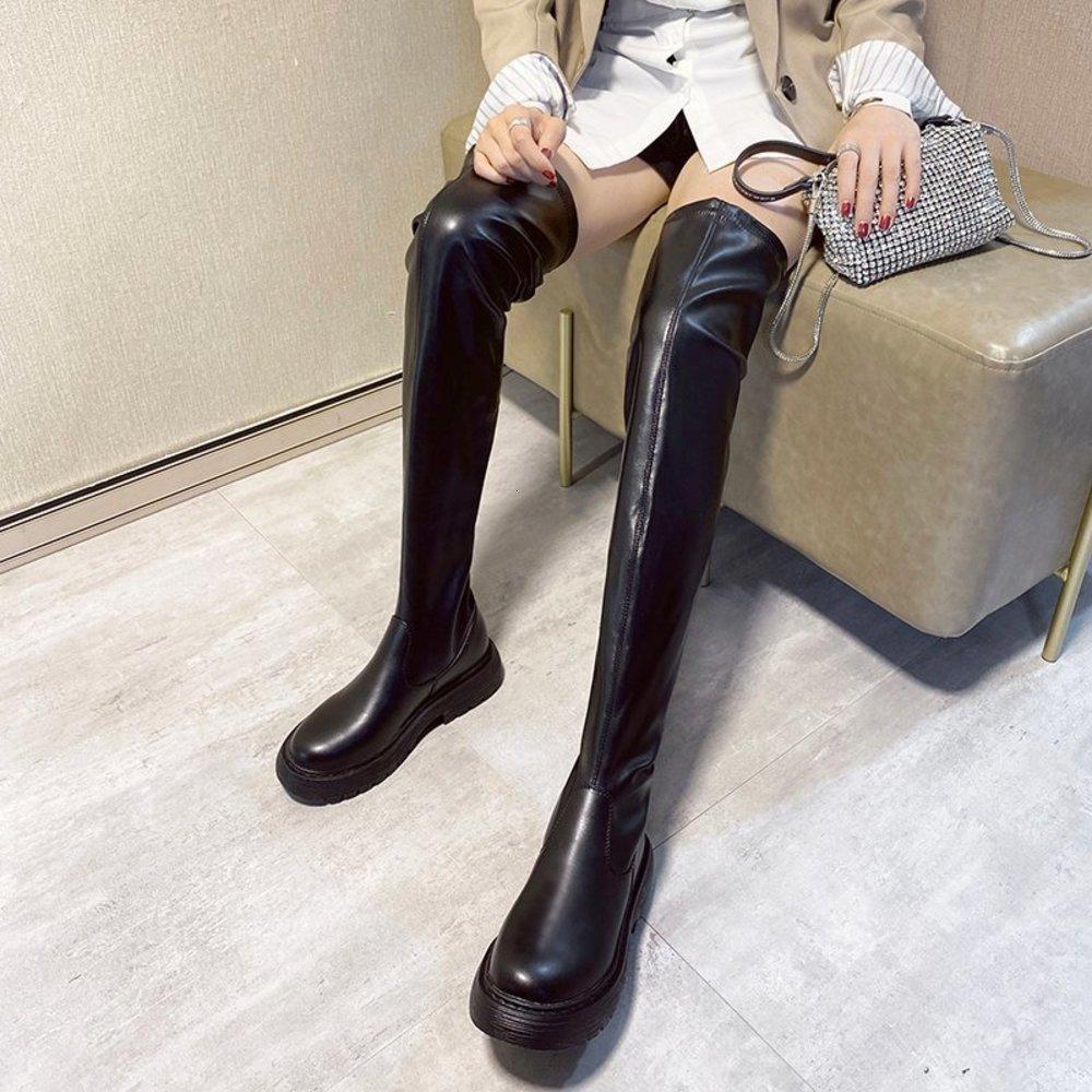 منصة فوق الركبة الدافئة أفخم أسود ضئيلة سميكة وحيد الفخذ طويل أحذية عالية النساء 2020 الشتاء
