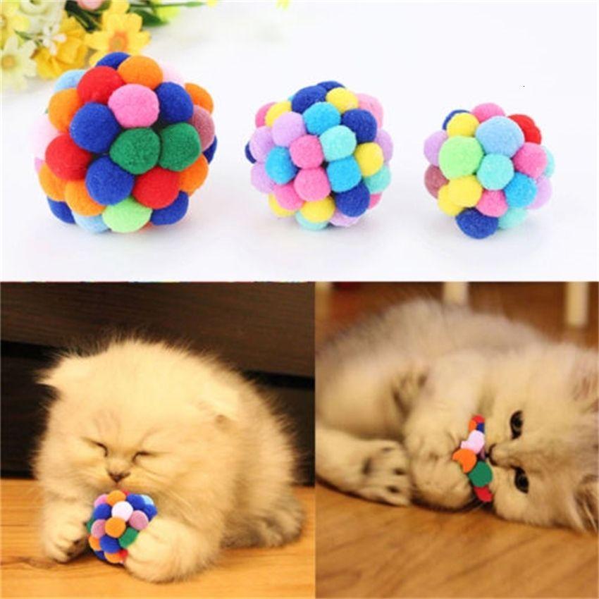 Klangkatze Spielzeug mit 1 stück lustige Leckereien Haustierkugel für Katzen Kätzchen Bunte Hand Glocke Hüpft