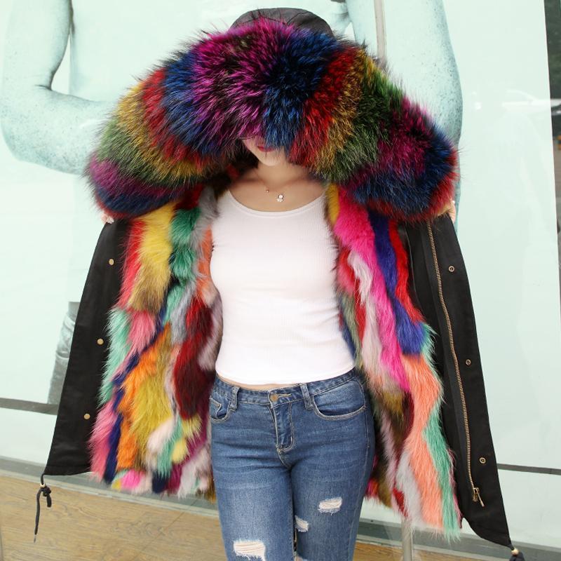 Женщины Parkas Trend-Setter Женщины Армия Зеленый енот Мех с капюшоном Пальто плюс Размер Eartwear Длинные Степень Стиль зимнего Куртка 3XL Real F