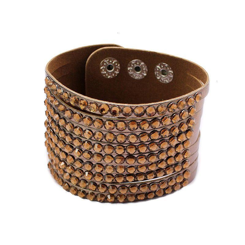 Factory Price Braclets Мода повседневная персонализированная горный хрусталь широкие кожаные браслеты обертки регулируемые браслеты браслеты