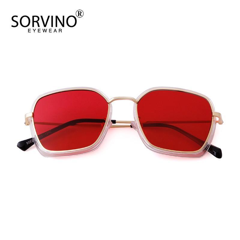 Sorvino 2020 Mode Platz Sonnenbrille Ozean-Stück Metallrahmen Sonnenbrille Persönlichkeit Wild Unisex 9052a