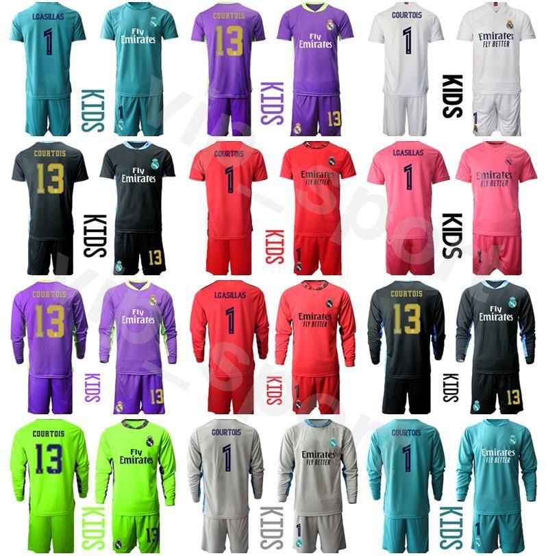 Kids Real Madrid Manica lunga portiere Thibaut Courtois Gioventù Iker Iker Casillas Soccer Jerseys Set Portiere Navas Paco Buyo Camicia da calcio Kit