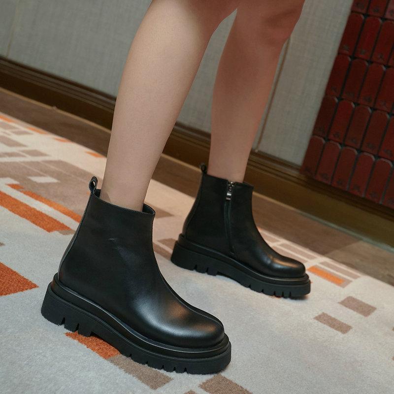 Rom Square High Heels Plattform Frauen Knöchelstiefel Mode Lässig Büroschuhe Frau Winter Neueste Warme Weibliche Kurzstiefel