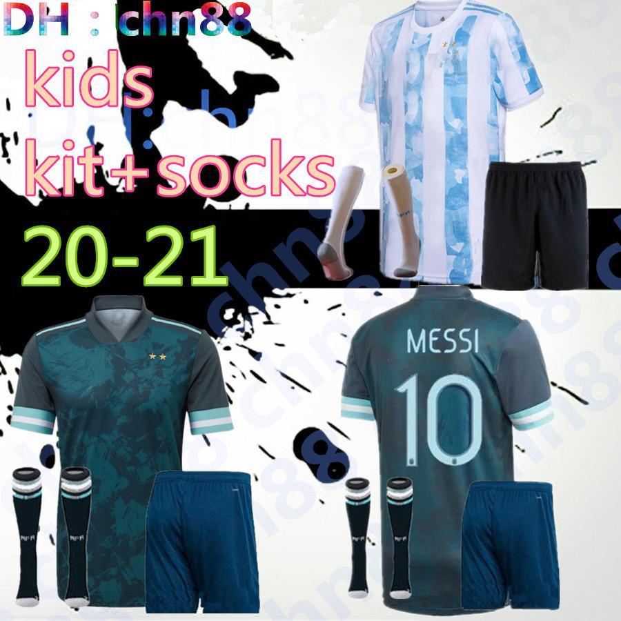 كوبا أمريكا 2020 2021 الطفل الأرجنتين كرة القدم جيرسي أطقم الاطفال + الجوارب 20 21 ميسي dybala مارادونا aguero دي ماريا هجوين قمصان كرة القدم