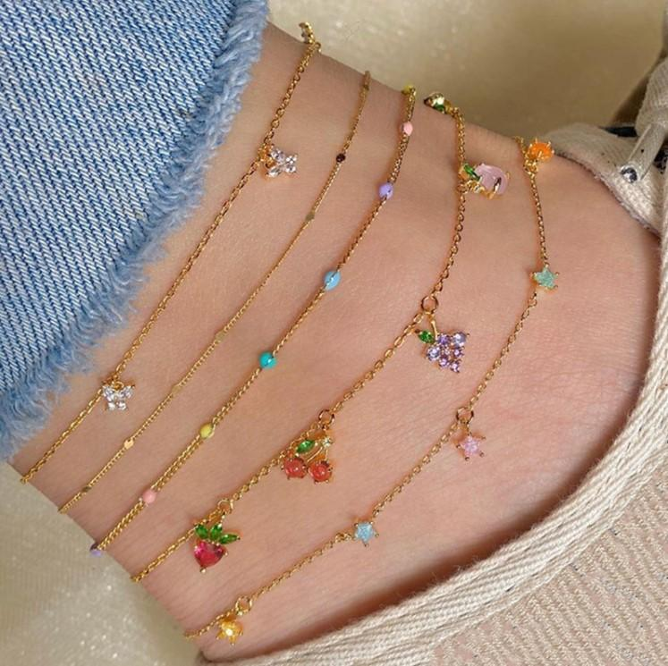 2020 new 5 Set Sweet Crystal Fruit Butterfly Star Anklets Bracelet Simple Anklets for Women Fashion Party Jewelry Gifts