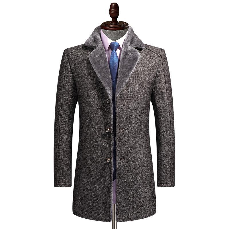 FreeshippingWool Coat Men's Traje Cuello Negocio Ocio Espesado abrigo de lana cálido Hombres Barrio de otoño de otoño
