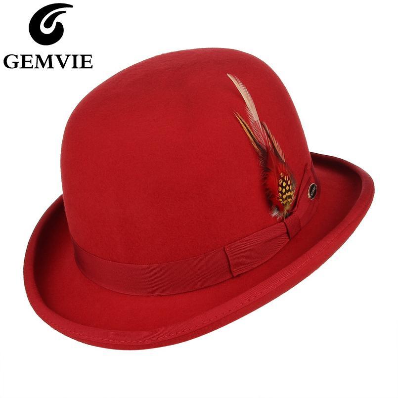 Gemlaub 100% Wolle Filz Feder Derby Melder Hut Für Männer / Frauen Satin gesäumt Mode Party Formale Fedora Kostüm Magierkappe 201028