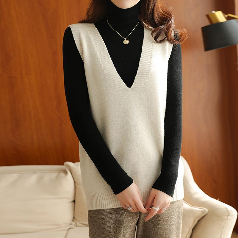 Hot sale casual loose V-neck vest 2020 ladies knitted sleeveless sweater coat cashmere wool vest Pullover 4 colors Long gauge