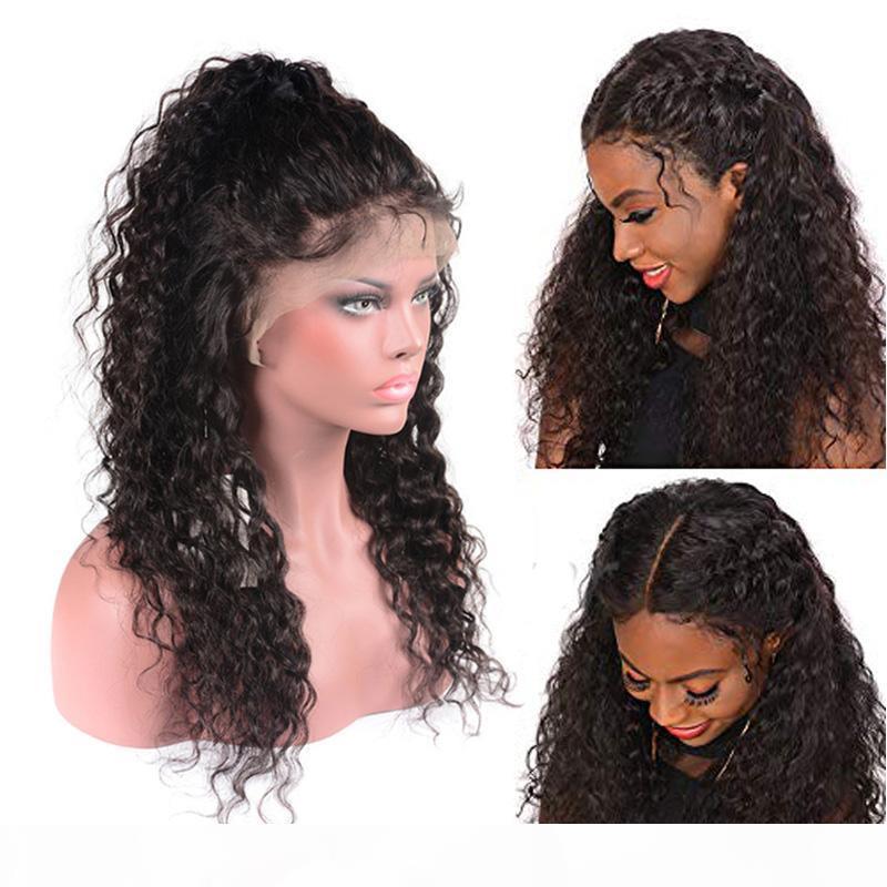 Atacado Glueless Brasileiro Virgem Wigs Water Onda de Água Renda Frente Humano Cabelo Perucas pré-arrancadas 150% de densidade 13 * 4 orelha para orelha perucas de renda