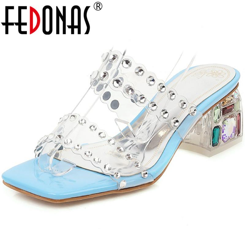 Rhinestone Peep Toe Women'S Sandals With Crystal Fashion Newest Summer Thich High Heels Slipper Party Basic Shoes