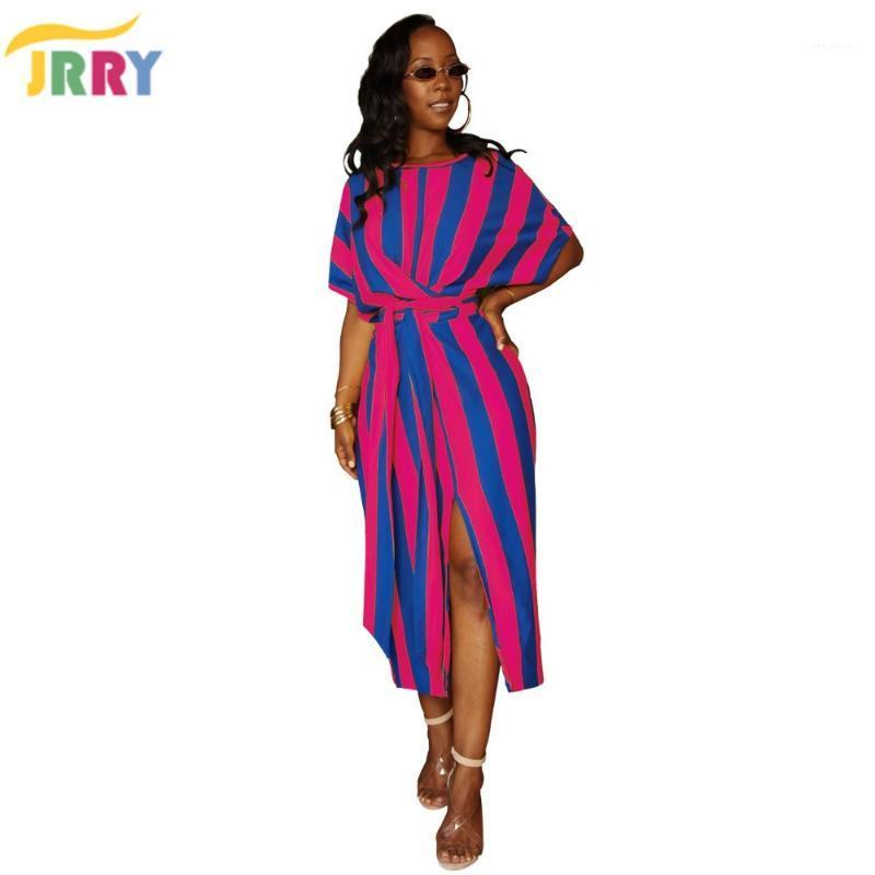 Jrry Casual Strosed Striped Femmes Maxi Robes Robes Sashes Batwing Longue Robe Vestidos1