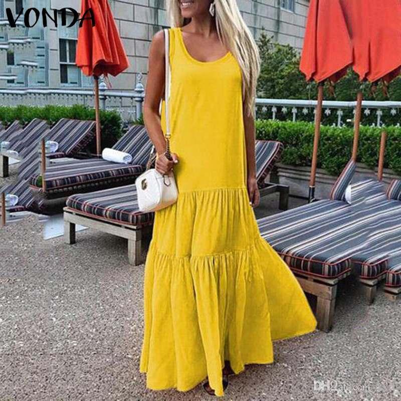 Vonda frauen kleid 2020 sommer böhmischen sommerkleid sexy ärmellose party maxi langes kleid lässig lose große schwing plus größe vestidos