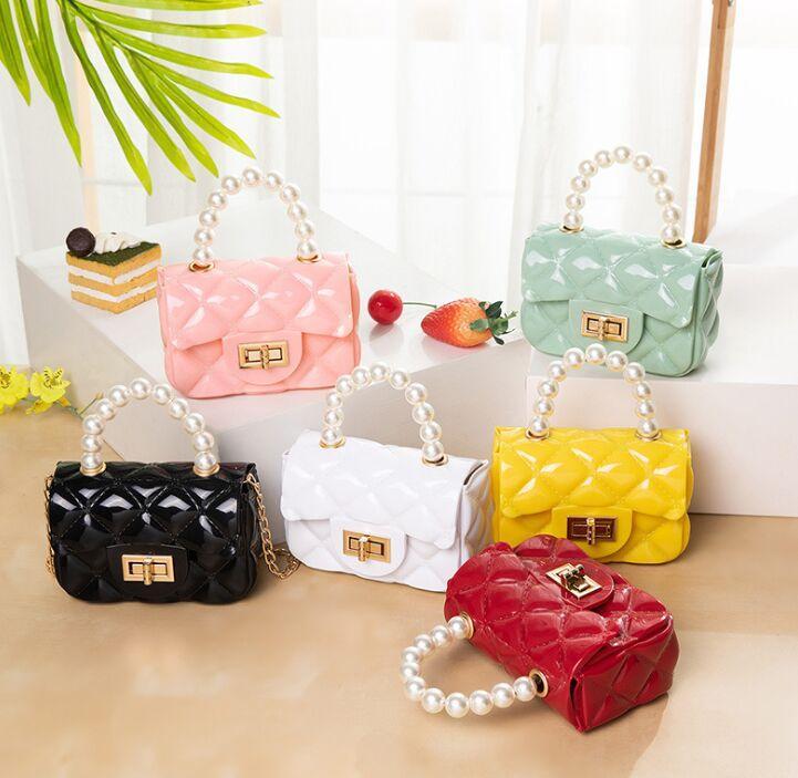 Small handbags Pearl tote bag Ladies fashion Diamond Jelly bag one-shoulder cross-body mini chain key bag