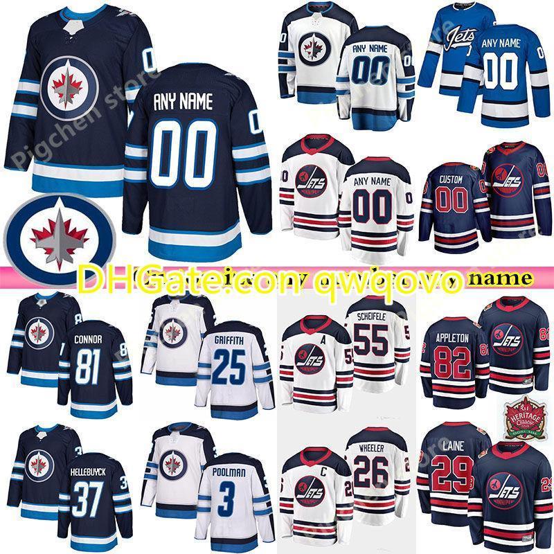 Özel erkek çocukları WinnipegJetseys 81 Connor 8 Trouba 37 Hellebuyck 7 TKACHUK 13 Tanev Herhangi bir Numara Herhangi Bir Adı Hokey Jersey