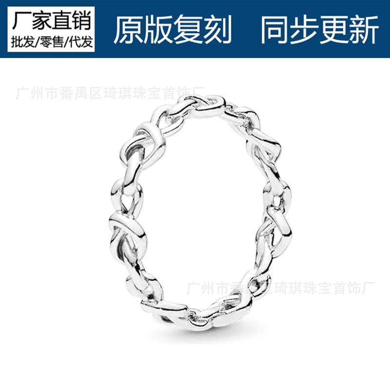 Panjia Anel S925 Sterling Silver Flip Anel Feminino Roda do Destino Coração Interwoven Diamond Index Ded_ding
