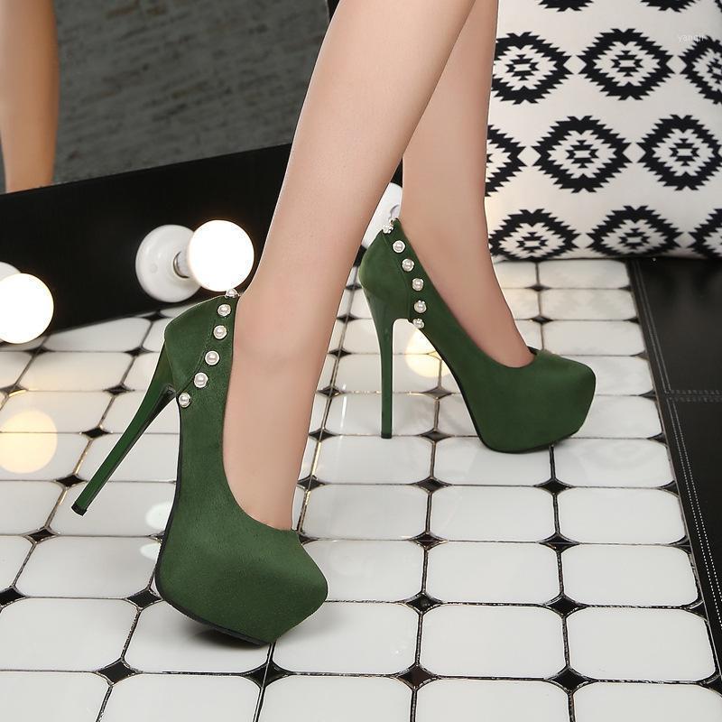 اللباس أحذية الأزياء 2021 امرأة مضخات من جلد الغزال اللؤلؤ جولة تو الأحمر ستيليتو 12 سنتيمتر عالية الكعب النساء أحذية الزفاف الأخضر 1