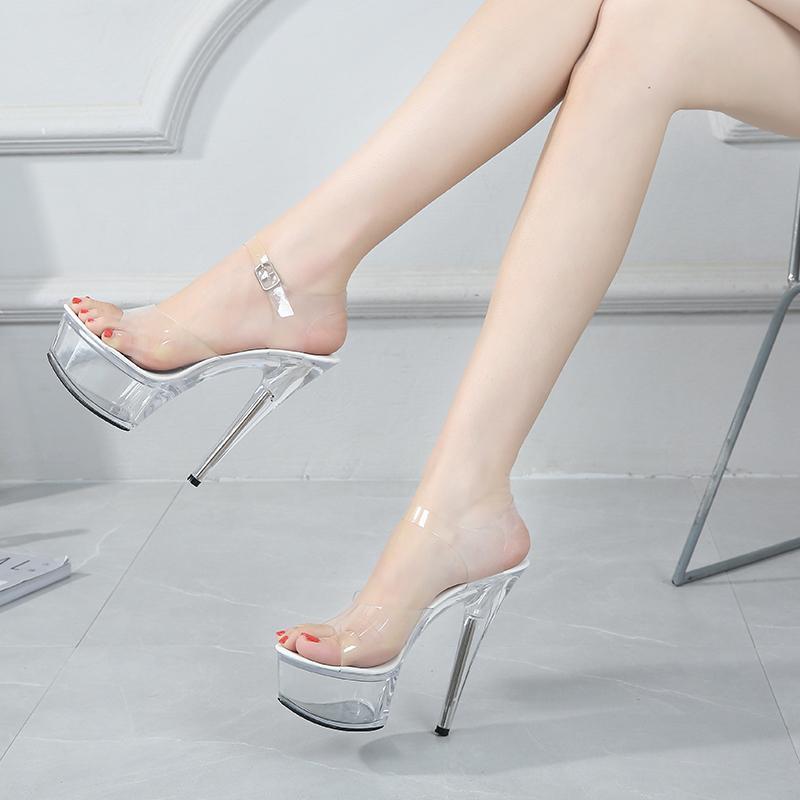 Shuzumiao 2021 Seksi Kadınlar Yüksek Topuklu 15 cm Kadın Şeffaf Kristal Ayakkabı Sandalet Büyük Boy 42 43 Ince Topuk Düğün Sshoes