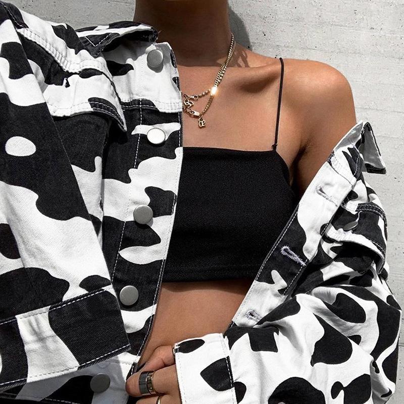 Latte Stampa Jeans Giacche per donne Streetwear Bottoni Tasche Cappotto Cappotto Femminile Black Black Bianco Slim Denim Denim Giacca Vendita