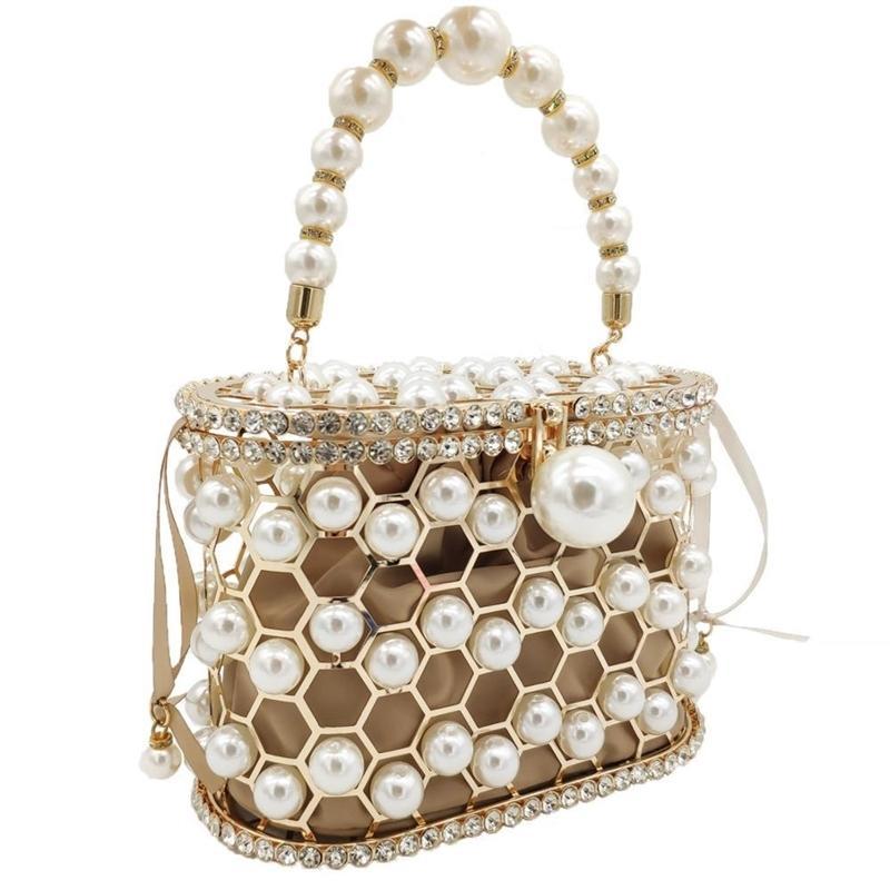 Boutique de FGG Pearl Perlen Abend Eimer Kupplungsbeutel Frauen Luxus Strass Umhängetasche Party Geldbörse Damen Diamant Handtaschen 201204