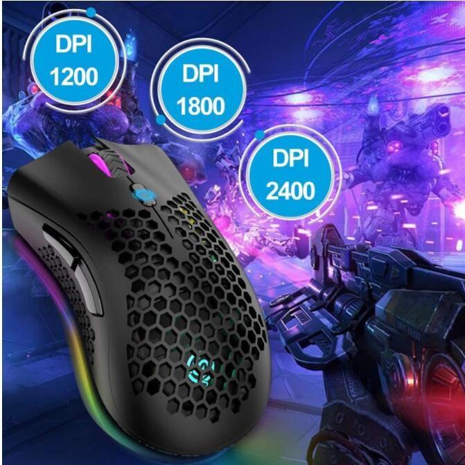 Silent Gaming Mouse 2.4G Wireless 3 Niveaux DPI RGB Light USB Game Capteur optique Capteur optique PC Souris d'ordinateur pour ordinateur portable Jeux souris 1pcs
