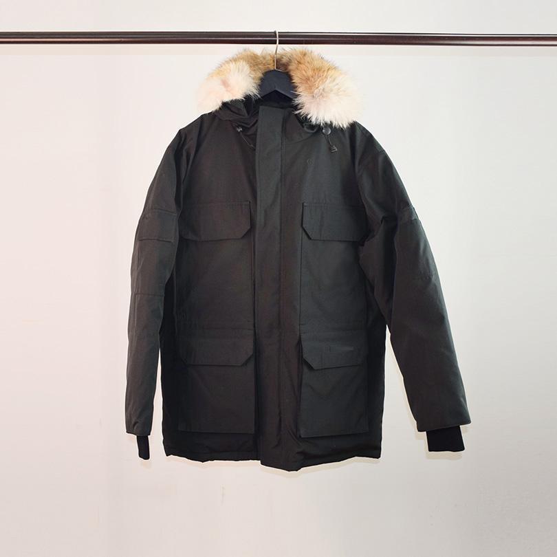 Mükemmel Kalite Gerçek Kurt Kürk erkek Giyim Parka Coat Kış Aşağı Ceket Su Geçirmez Rüzgar Geçirmez Nefes XS-XXL
