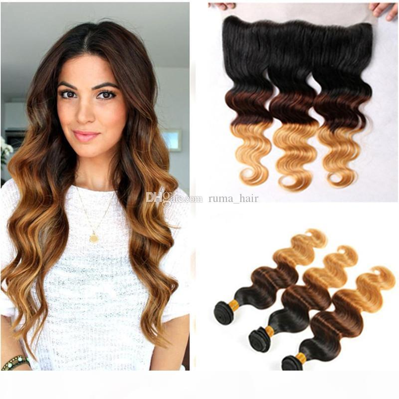 Honey Blonde Virgin Hair Weaves With Lace Frontal 1b 4 27 Brown Blonde Body Wave Ombre Human Hair Weaves With Lace Frontal Closure