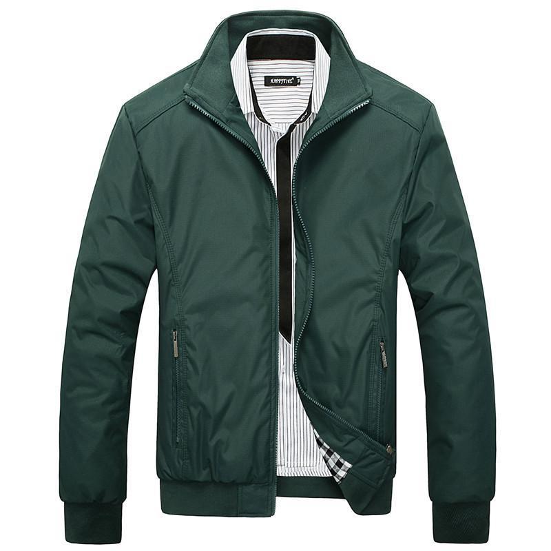 Primavera Outono Casual Mens Jackets Plus Tamanho 5XL Jaqueta Masculina Sportswear Bomber Jacker Mandarim Collar Jacket Homme Slim Fit