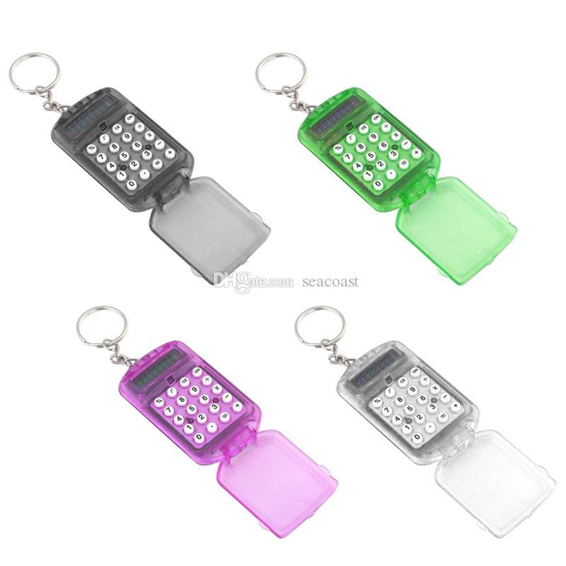 500st ny 8-siffriga fickan mini och lätt att bära kompakt keychain kalkylator nyckelkedja ring kreativ fri frakt