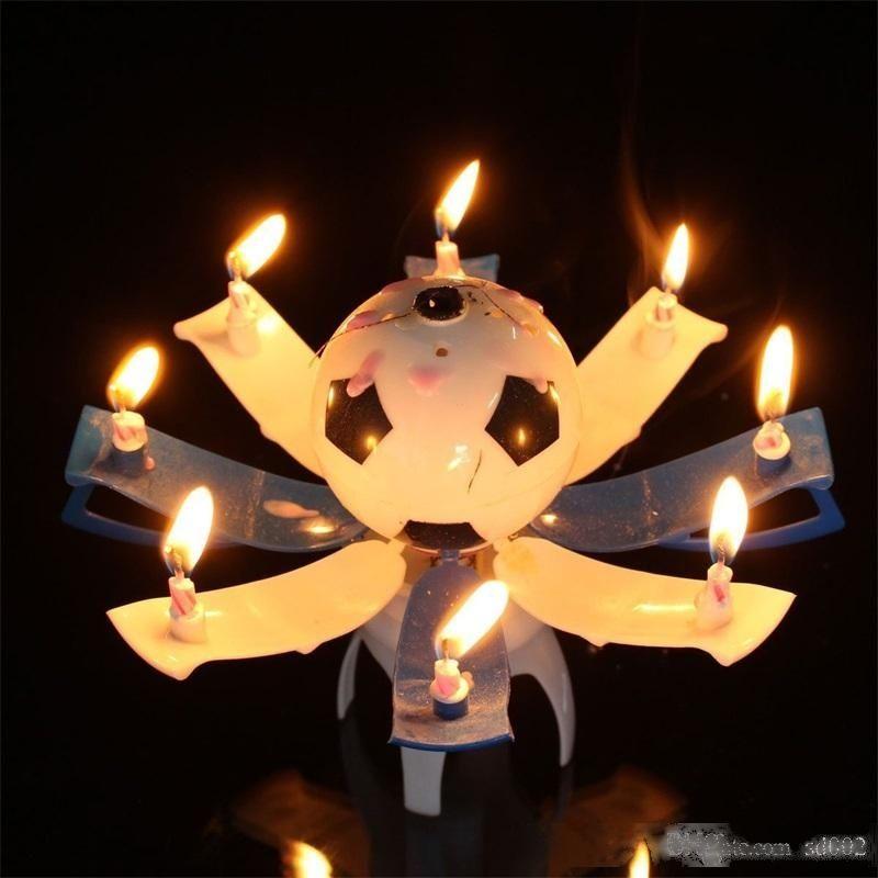 Novedad trofeo forma velas cera cumpleaños fiesta decoración vela música color automático floración niños favor caliente venta 6zy II