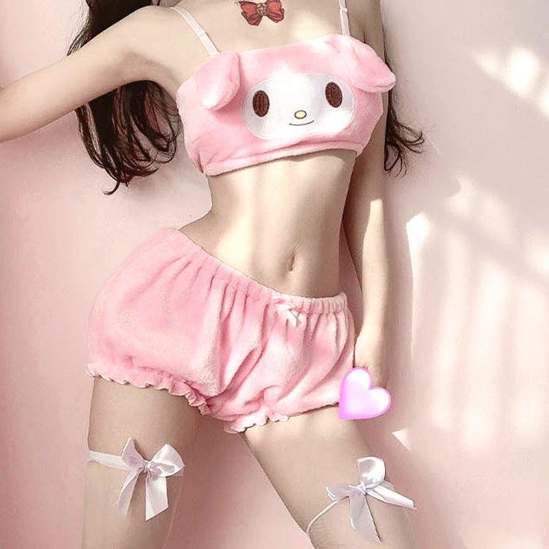 Anime Melody Kwaii Fluwelen Tube Top Panties Set Sweet Underwear Long Ear Doggy Nice Beha Flowers Sexy Lingerie for Girls Women