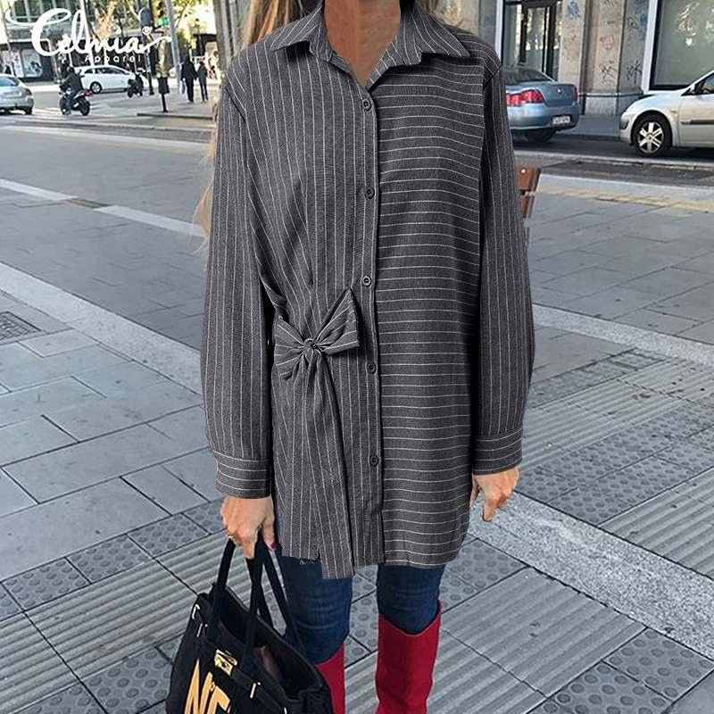 Mode gestreifte Tops Frauen Langarmshirts Celmia Herbst Revers Casual Loose Bogen Blusen Damenarbeit Blusas Plus Größe Top