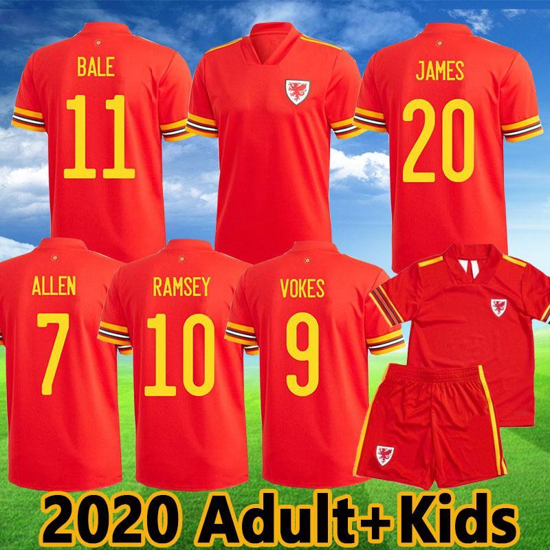 2020 Gales Jerseys de futebol Bale James Ramsey Camisa de futebol Camisetas Wales Red Allen Vokes Wilson Kit Uniformes de crianças adultos