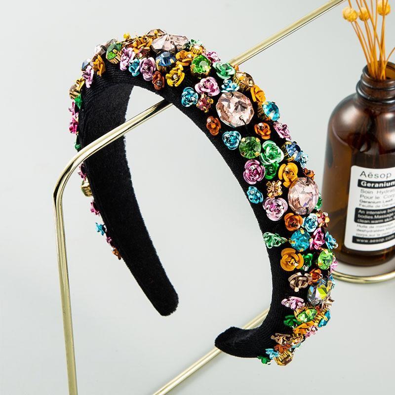 Moda Accesorios para el cabello de alta gama Color Rhinestone Esponja Diadema Flor de las mujeres Vuelve de terciopelo Diadema