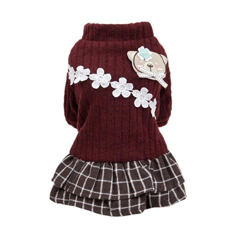 New Fashion Pet Elegant Skirt Autumn And Winter Keep Warm Cat Dog Clothing Plaid Skirt Cat And jllhJd loveshop01