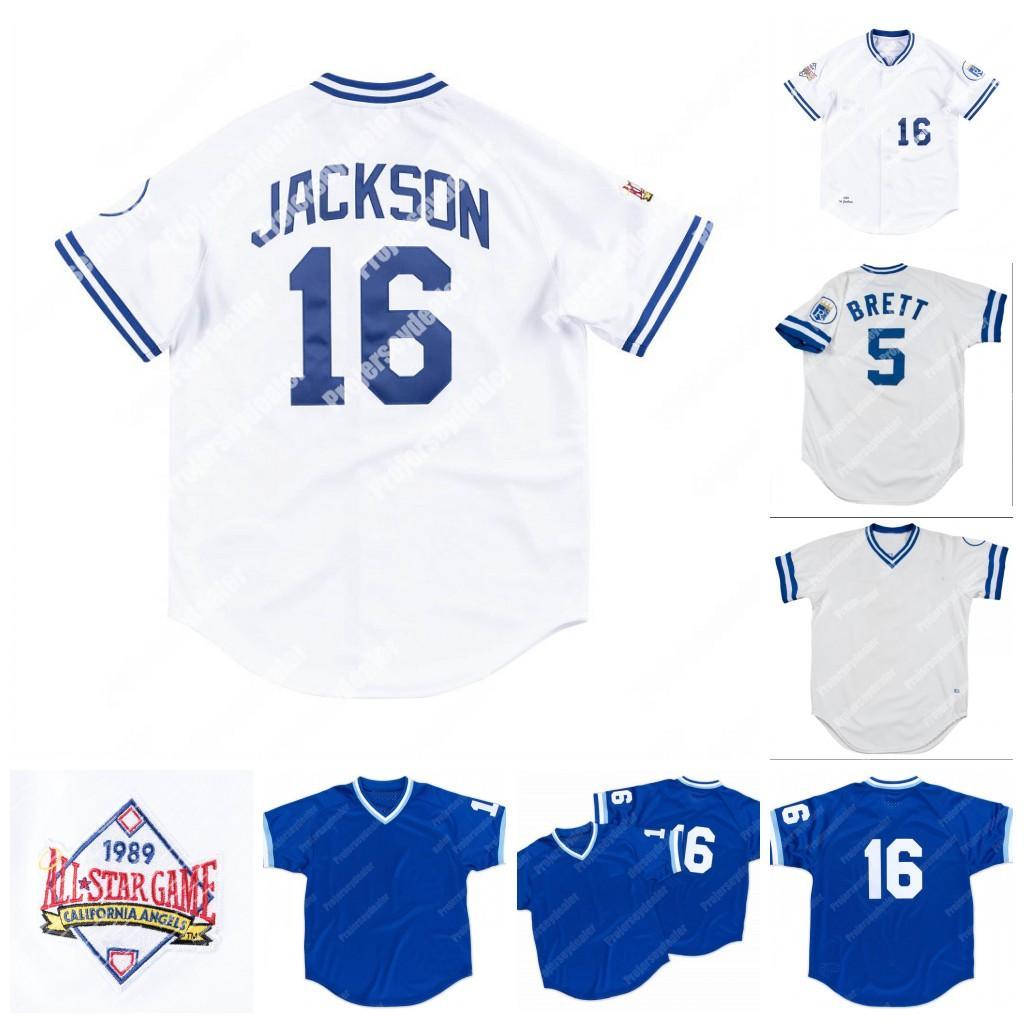 16 Bo Jackson 1989 5 George Brett 1982 Kansas City Home Baseall Jersey Tudo Costurado